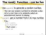 the rand function can be fun