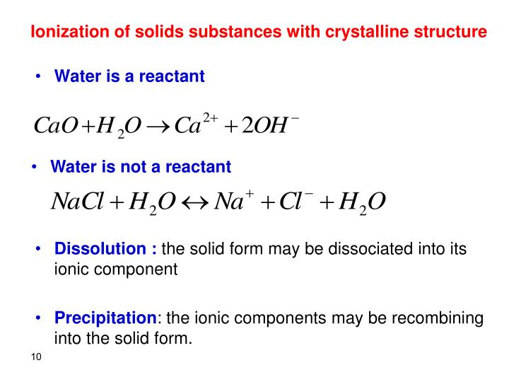 Ionization of solids substances with crystalline structure