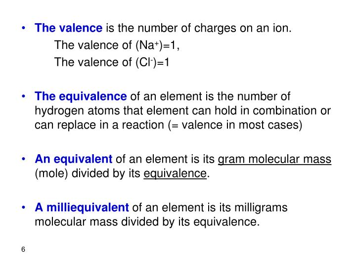 The valence
