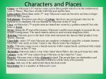 characters and places