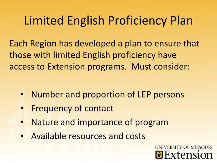 Limited English Proficiency Plan