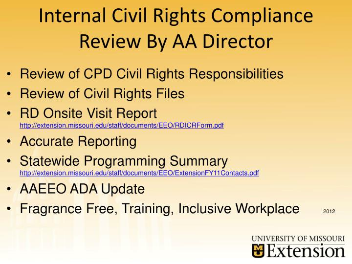 Internal Civil Rights Compliance Review By AA Director