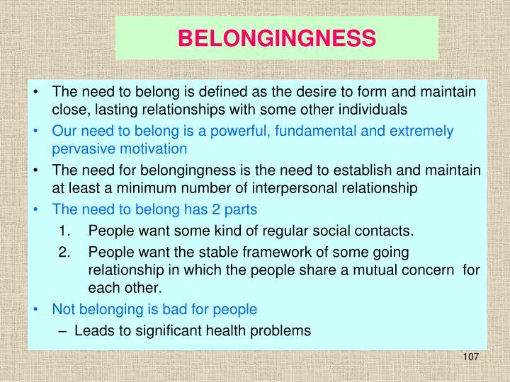 BELONGINGNESS