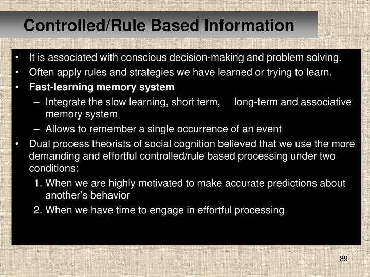 Controlled/Rule Based Information