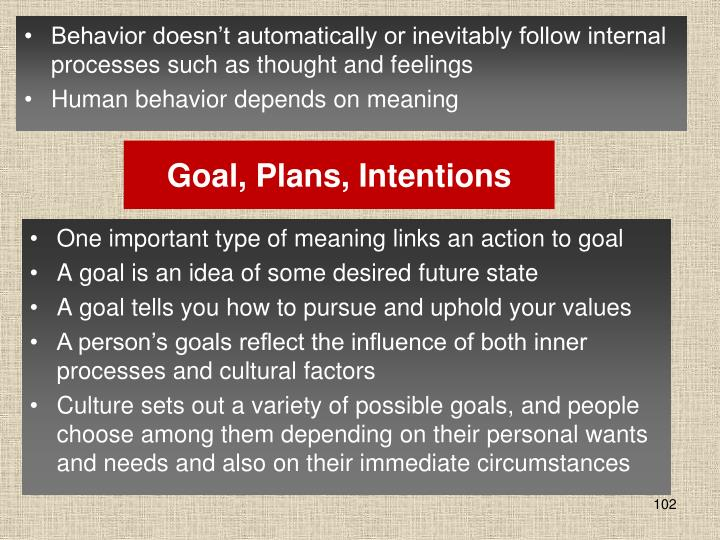 Goal, Plans, Intentions