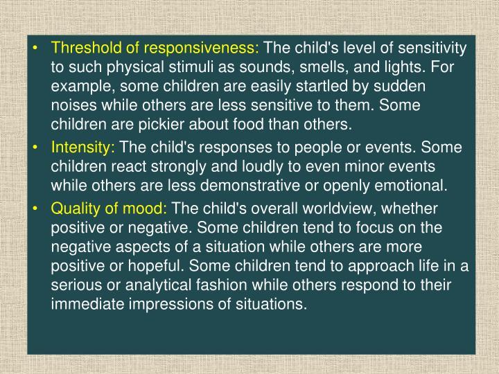 Threshold of responsiveness: