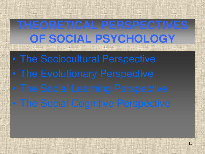 THEORETICAL PERSPECTIVES OF SOCIAL PSYCHOLOGY