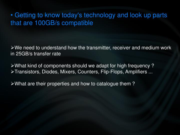 Getting to know today's technology and look up parts that are 100GB/s compatible