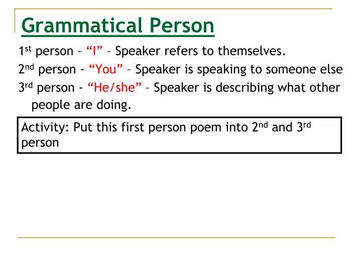 Grammatical Person