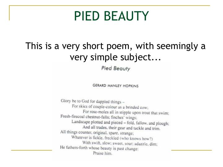 Pied beauty
