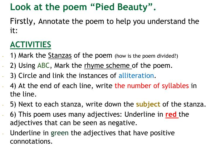 """Look at the poem """"Pied Beauty""""."""