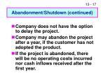 abandonment shutdown continued1
