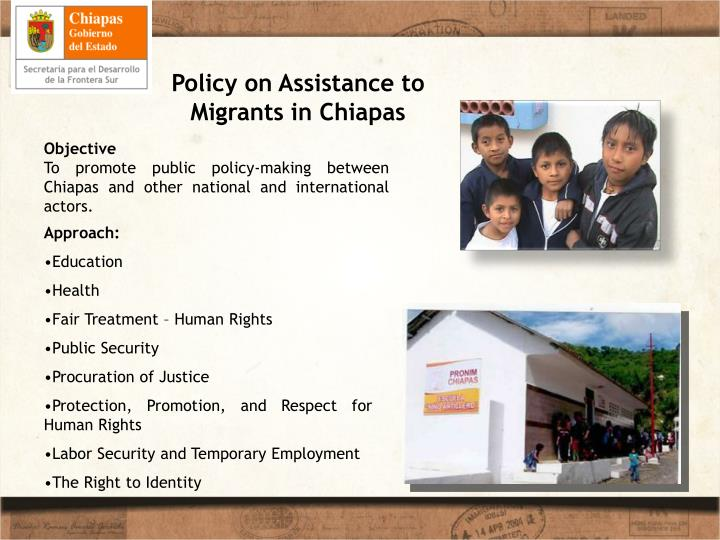 Policy on Assistance to