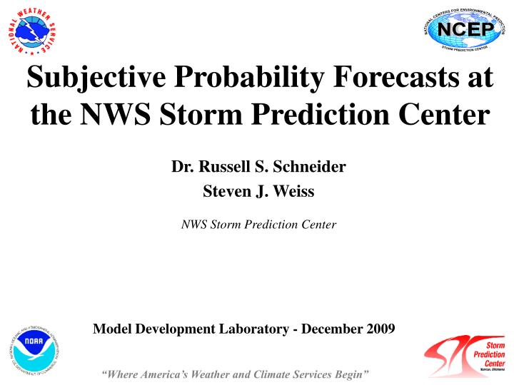 subjective probability forecasts at the nws storm prediction center n.