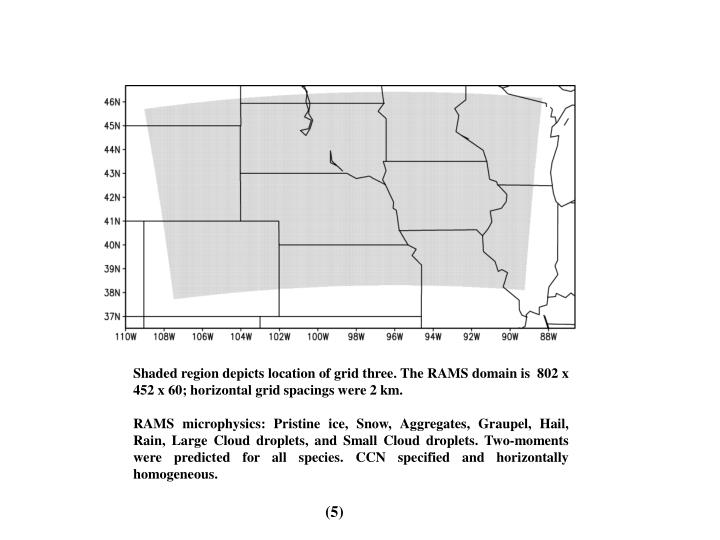 Shaded region depicts location of grid three. The RAMS domain is  802 x 452 x 60; horizontal grid spacings were 2 km.