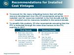recommendations for installed cost vintages