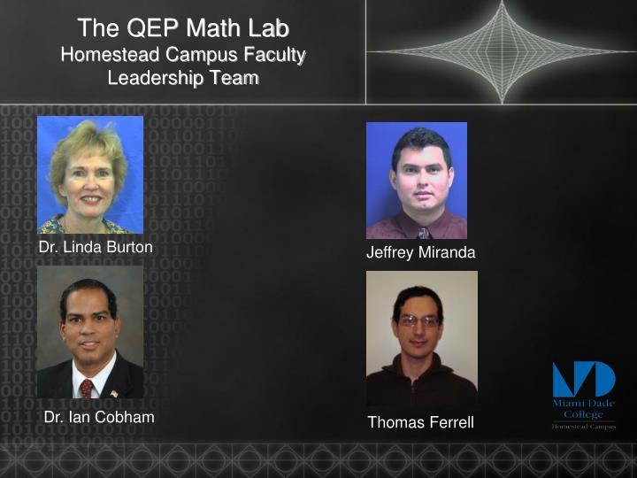 The qep math lab homestead campus faculty leadership team