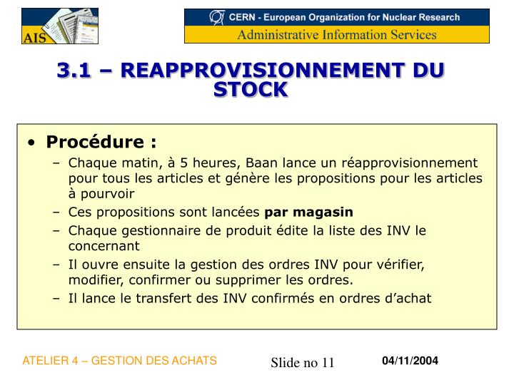 3.1 – REAPPROVISIONNEMENT DU STOCK