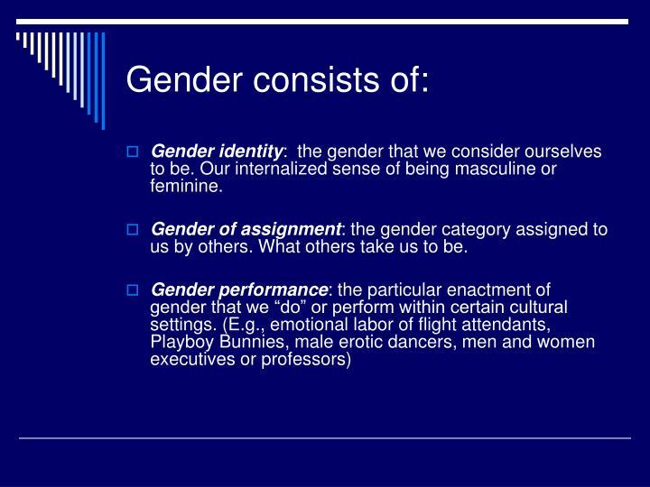 Gender consists of: