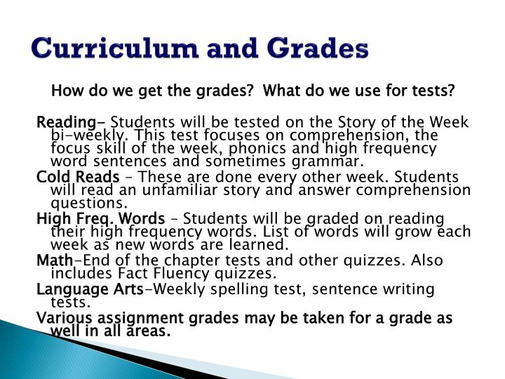 Curriculum and Grades