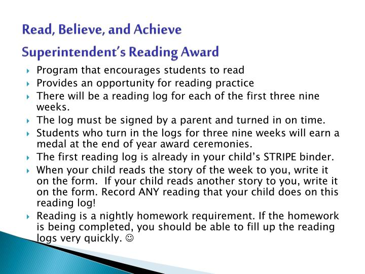 Read, Believe, and Achieve