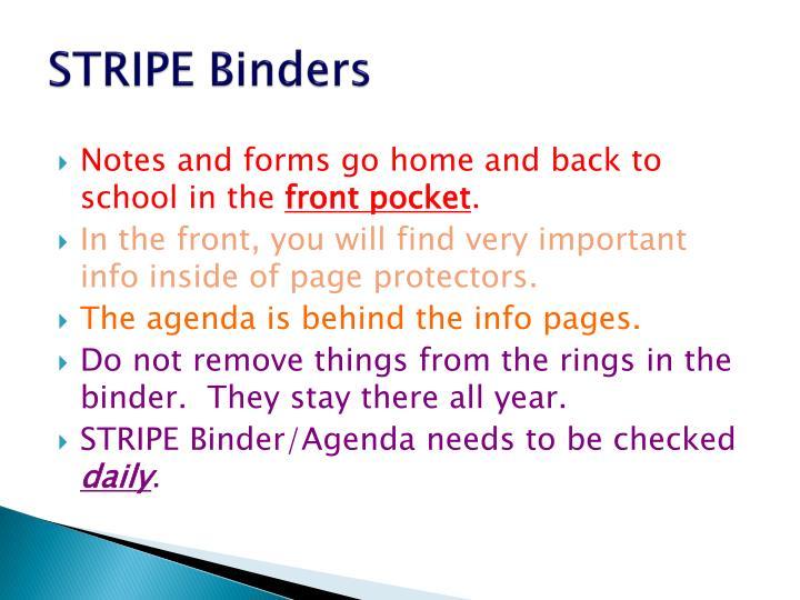 Stripe binders