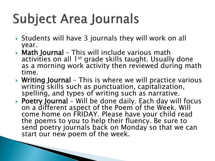 Subject Area Journals