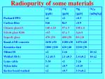 radiopurity of some materials