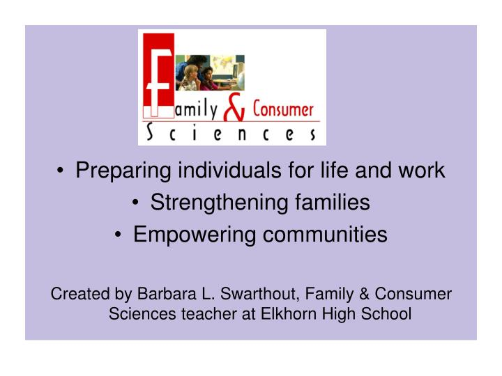 Preparing individuals for life and work