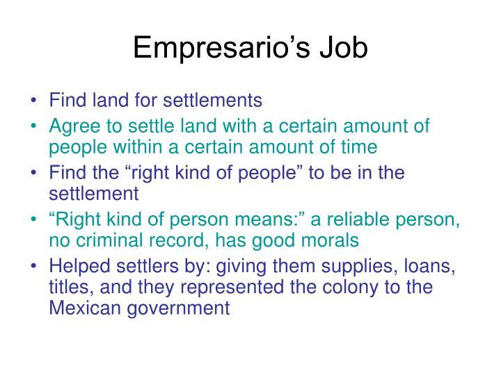 Empresario's Job