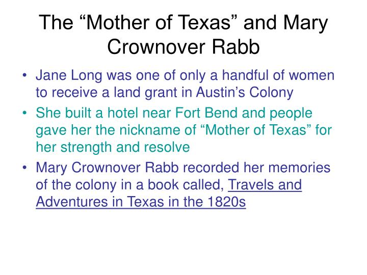 """The """"Mother of Texas"""" and Mary Crownover Rabb"""