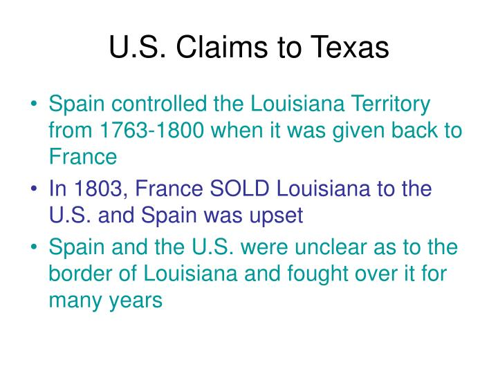 U s claims to texas
