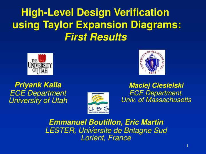 high level design verification using taylor expansion diagrams first results n.