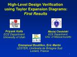 high level design verification using taylor expansion diagrams first results