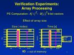 verification experiments array processing