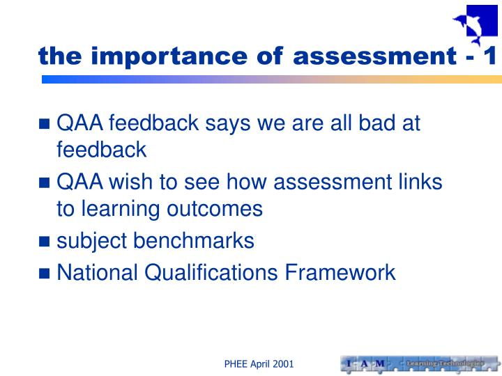 the importance of assessment - 1