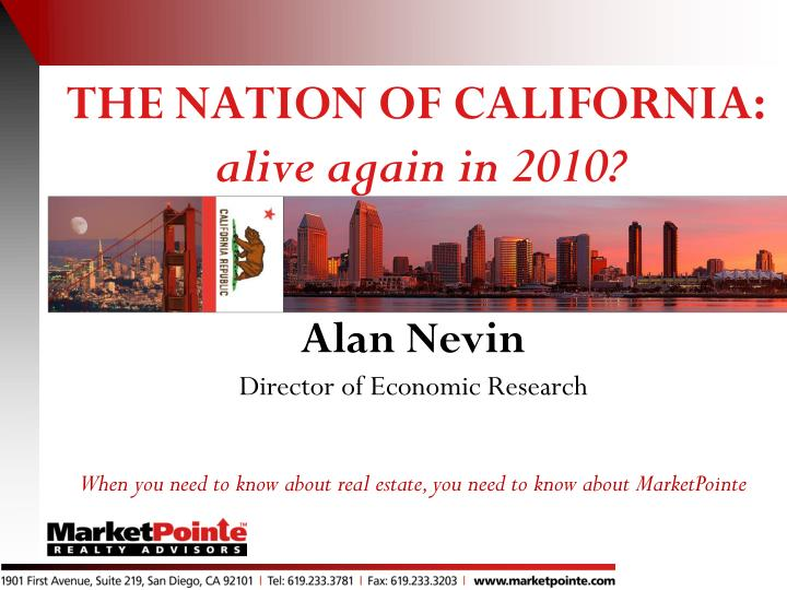 The nation of california alive again in 2010