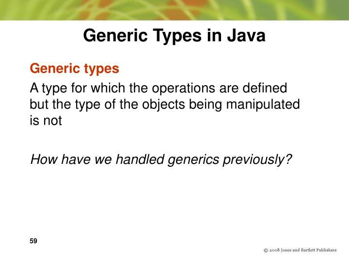 Generic Types in Java
