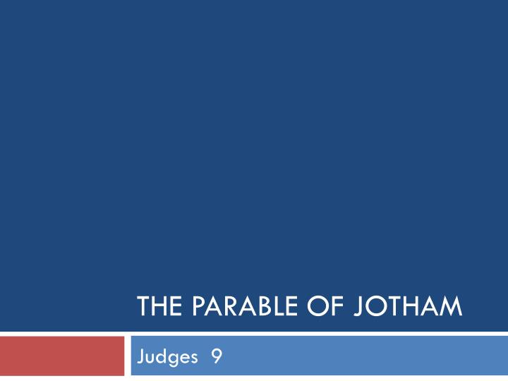 the parable of jotham n.