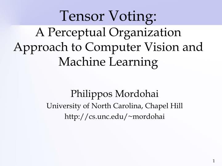 tensor voting a perceptual organization approach to computer vision and machine learning n.