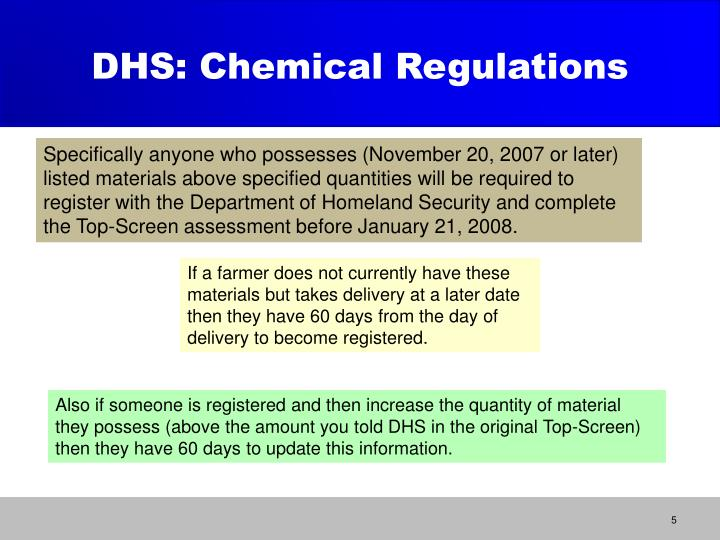 DHS: Chemical Regulations