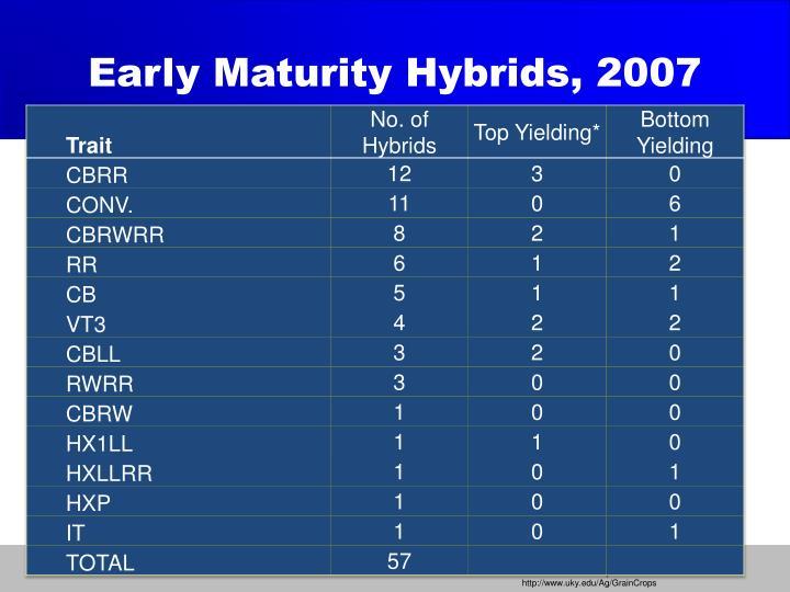Early Maturity Hybrids, 2007
