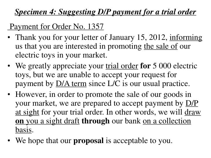 Specimen 4: Suggesting D/P payment for a trial order