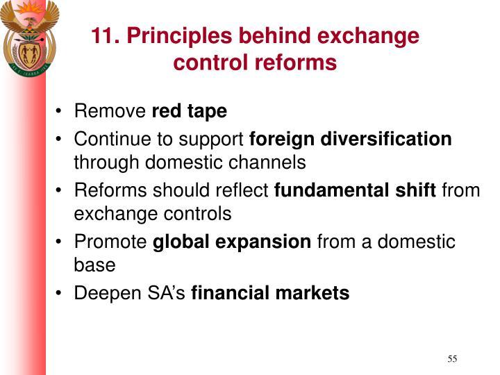 11. Principles behind exchange control reforms