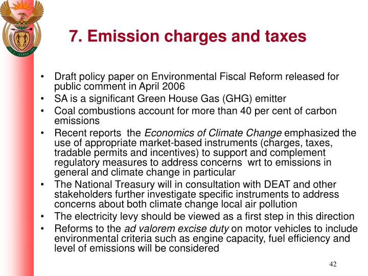 7. Emission charges and taxes