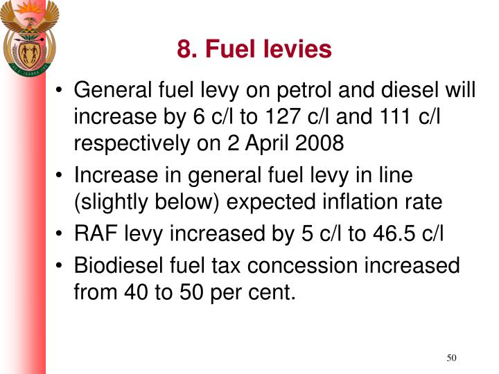 8. Fuel levies