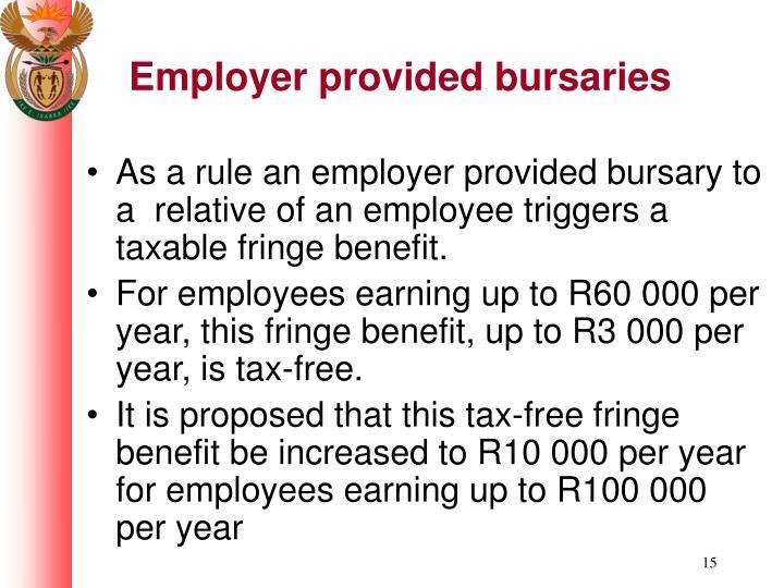 Employer provided bursaries