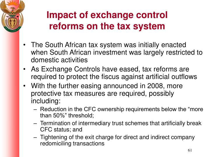 Impact of exchange control reforms on the tax system