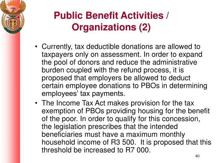 Public Benefit Activities / Organizations (2)