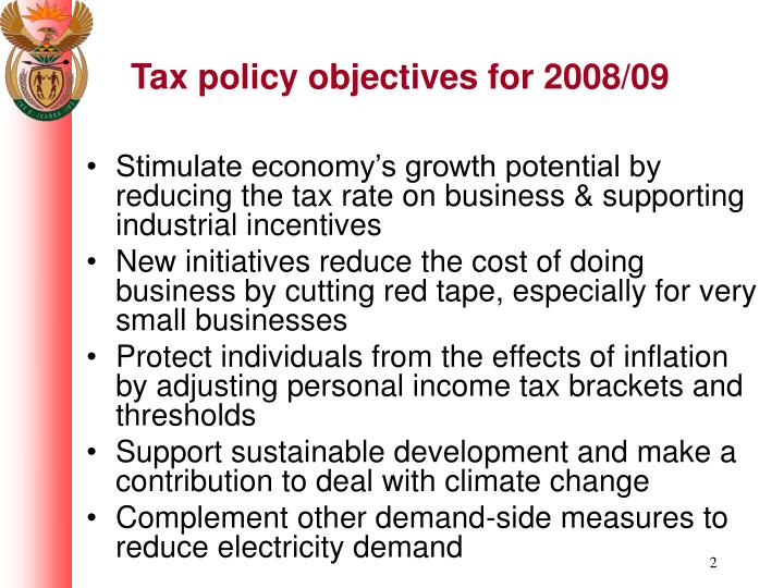 Tax policy objectives for 2008 09